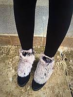 Ботиночки ULTRA натуральный замш, снаружи мех кролик, дорогой окрас