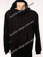 Теплая мужская кофта с капюшоном черного цвета 4189