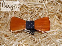 Детская деревянная бабочка Классик темно-синяя в горошек