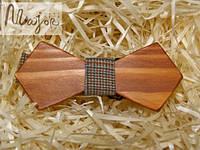 Детская деревянная бабочка Ретро оранжево-коричневая шотландка