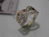 Кольцо серебряное с золотыми вставками- Христина (Склад-2)