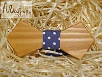 Детская деревянная бабочка Ретро синий джинсовый горошек