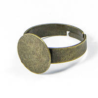 Основа для кольца Латунь, с Платформой под Кабошон, Цвет: Бронза, Размер: Диаметр 18мм, Ширина 3~4.5мм, Диаметр Основы 12мм, (УТ100005463)
