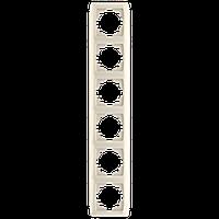 Шестерная вертикальная рамка VIKO Carmen Крем (90572006)