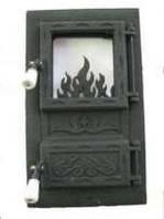 Дешевле нет!Дверцы(дверки) чугунные со стеклом для печи  Ромбик.Дверь печная., фото 1