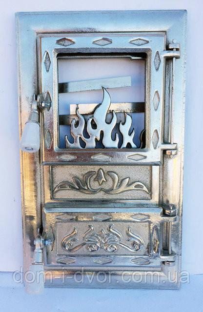 """Дверцы для печки со стеклом.Хромированая """"Ромбик"""""""