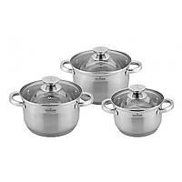 Набор  посуды из нержавеющей стали на 6 предметов : Кастрюля с крышкой: 16x10,5 cм Кастрюля с крышкой: 18x11,5 cм Кастрюля с крышкой: 22x13,5 cм.