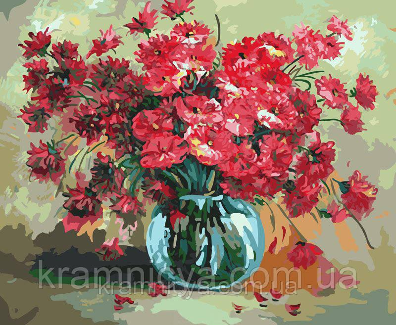 """Картина по номерам  """"Красный букет цветов"""", G299, 40х50см."""