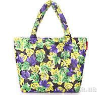 Дутая женская сумка Poolparty с принтом pp4-yellow-violet-leaves