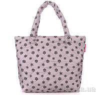 Дутая женская сумка Poolparty с принтом pp4-snow-grey