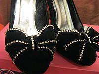 Туфли женские нарядные новые черные замша 39р, фото 1