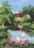 Канва с рисунком для вышивки крестом Лебеди на пруду у дома