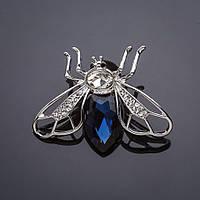 Брошь Мотылек синие кристаллы