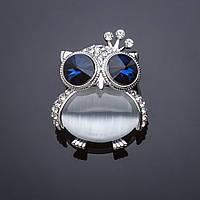 Брошь Сова Принцесса синий кристалл