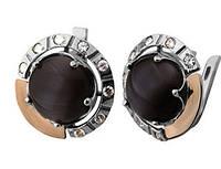 """Срібні сережки """"Удача"""" -  срібло 925 проби з золотими вставками, серебряные сережки с золотом"""