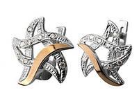 """Срібні сережки """"Зірочка"""" -  срібло 925 проби з золотими вставками, серебряные сережки с золотом"""