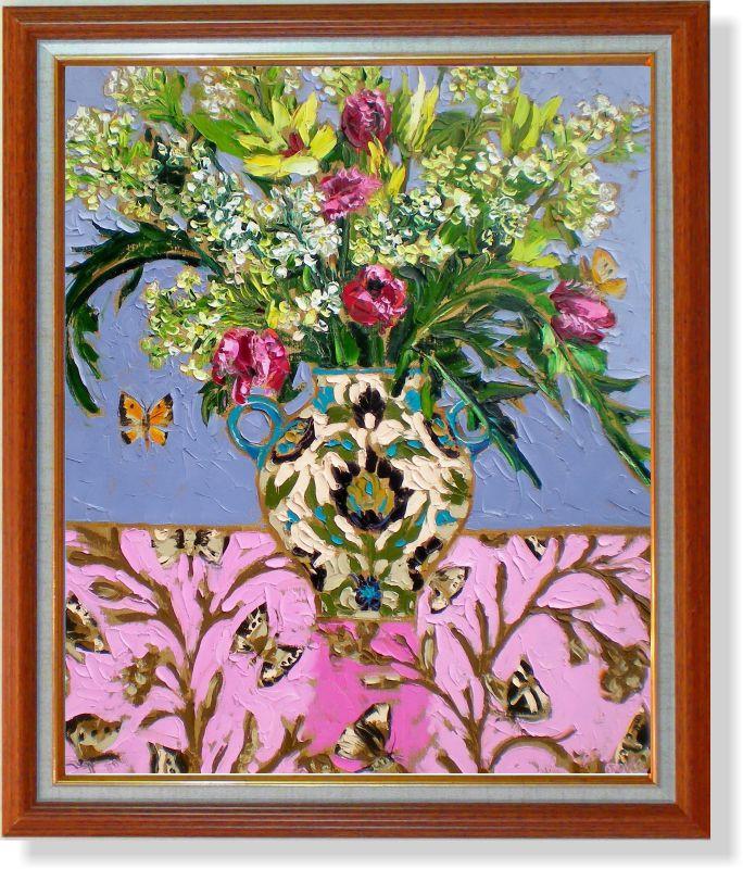 """Репродукция  современной картины """"Цветы и бабочки"""" 32 х 40 см"""