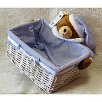 Плетеная прямоугольная корзинка Мишка сонька