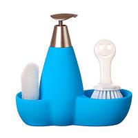 Набор для мыла с губкой и щеткой Голубой