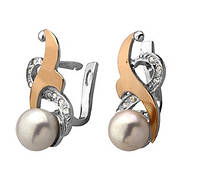 """Срібні сережки """"Жемчуг"""" -  срібло 925 проби з золотими вставками, серебряные сережки с золотом"""