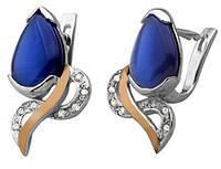 """Срібні сережки """"Лагуна"""" -  срібло 925 проби з золотими вставками, серебряные сережки с золотом"""
