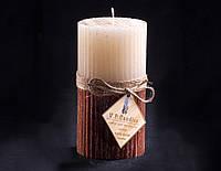 Свеча двухцветная Ванильно-шоколадная Ребристая круглая