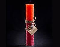 Свеча оранжево-бордовая Круглая высокая