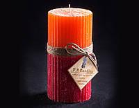 Свеча оранжево-бордовая Круглая ребристая