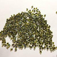 Бісер (бисер) MATSUNO Японія  рубка, 11/ 2 CUT 100 грам, салатовий з чорним