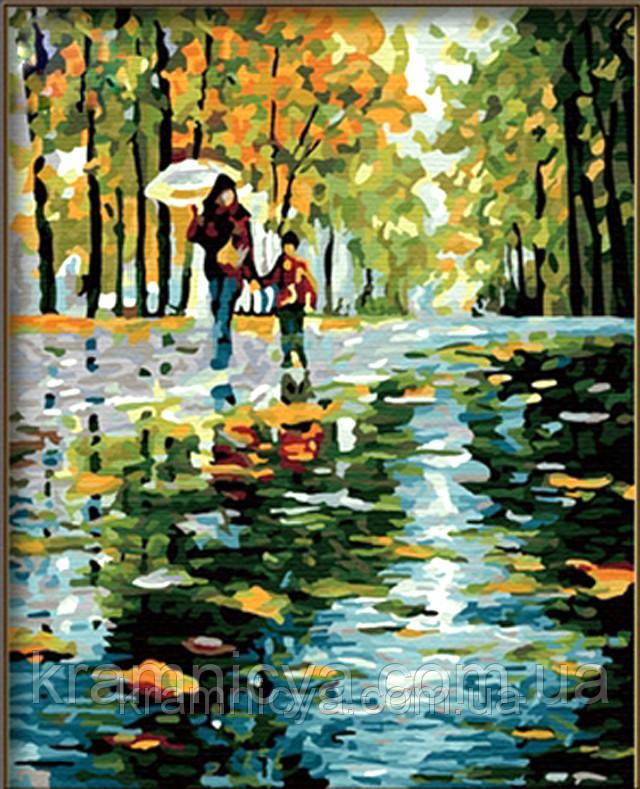 """Роспись по номерам на холсте """"Прогулка под дождем"""", художник Л. Афремов, 40х50см, MG064"""