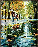 """Роспись по номерам на холсте """"Прогулка под дождем"""", художник Л. Афремов, 40х50см, MG064, фото 1"""