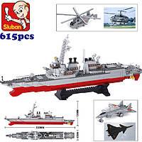 """Конструктор Sluban """"Корабль """"Разрушитель"""" (самолёты, вертолёты, катер, 615 деталей)"""