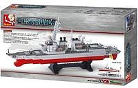 """Конструктор Sluban """"Корабль """"Разрушитель"""" (самолёты, вертолёты, катер, 615 деталей), фото 1"""