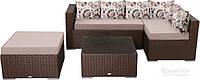 Комплект садовой мебели искусственный ротанг, стекло (диван – 2 шт., комплект подушек, пуф, столик)