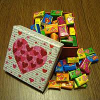 Жвачка Love is в подарочной коробке (ассорти) 70 шт.