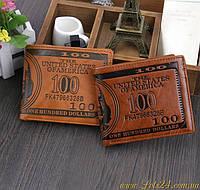 Мужской кожанный кошелек с тиснением купюра 100$