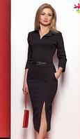 Платье-футляр чёрный с красным