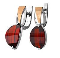 """Срібні сережки """"Прима"""" -  срібло 925 проби з золотими вставками, серебряные сережки с золотом"""