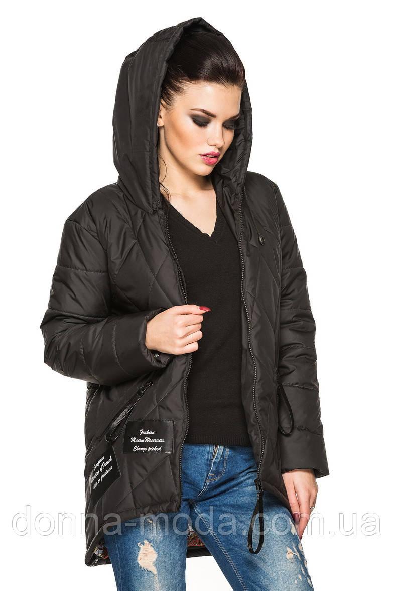 Демисезонная женская куртка-парка с капюшоном, фото 1