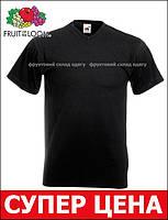 Мужская Футболка с V-Образным Вырезом Fruit of the loom Чёрный 61-066-36 S