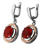 """Срібні сережки """"Мальвіна"""" -  срібло 925 проби з золотими вставками, серебряные сережки с золотом"""