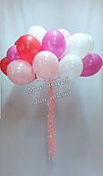 Облако из 20 гелиевых шаров(цвет: красный, розовый, фуксия, белый)