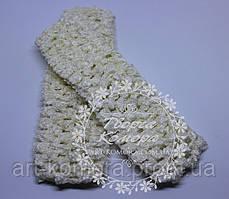 Ажурная повязка узкая, молочная, 4 х 12 см