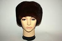 Зимняя шапка, мех норки, в темно-коричневом цвете