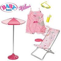 Шезлонг и зонт и одежда для куклы Baby Born Zapf Creation 822395
