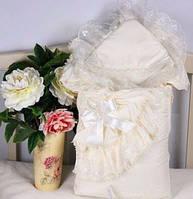 Королевский конверт на выписку для новорожденной девочки. Цвет айвори. Весна