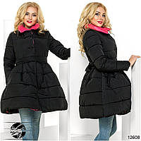 Стеганое пальто с высоким воротником и оригинальной пышной юбкой в сборку на талии.