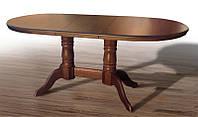 Деревянный обеденный стол Наполеон массив дуба, цвет темный орех