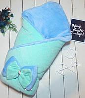 Двухсторонний плед из велюра для новорожденного малыша. Бирюза/голубой