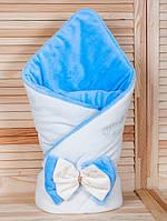 Двухсторонний плед из велюра для новорожденного малыша. Молоко/голубой